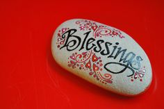 "Not too long ago I received this rock from a client of mine. She had the word ""blessings"" painted on the stone by an artist friend of hers, Sandi Pike, because she noticed I often close… Stone Crafts, Rock Crafts, Fun Crafts, Arts And Crafts, Adult Crafts, Nature Crafts, Pebble Painting, Pebble Art, Stone Painting"