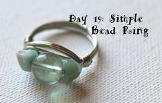 Wire Wrapping for Beginners Day 19:  Simple Bead Ring Tutorial.  I'm working my way through my own book Wire Wrapping for Beginners www.wirewrappingforbeginners.com 1 project per day.  #wirewrap #jewelrymaking