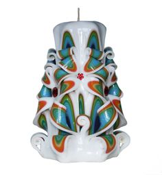 Mothers day GIFT SALE Carved Candles Rainbow white