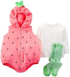 Sweet little strawberry costume for babies & toddlers.  The fleece vest with an elastic hood make it perfect for cold Halloween nights.