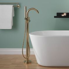 Delta Trinsic® Single Handle Floor Mount Freestanding Tub Filler with Hand Shower Finish: Brilliance Champagne Bronze Roman Tub Faucets, Delta Trinsic, All Modern, Bath Faucet, Tub, Hand Shower, Tub Faucet, Freestanding Tub Filler, Freestanding Faucets