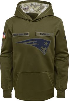 Nike Youth Salute to Service New England Therma-FIT Olive Performance  Hoodie 575172ff6