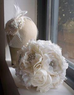 Fabric bridal bouquet, Great Gatsby weddings, 1920s bouquet, Brooch bouquet, Art deco weddings