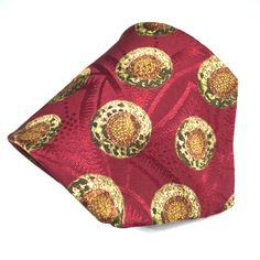 "Burberrys Silk Necktie Tie Circles on Burgundy Jacquard Background 4"" Vtg EUC #Burberrys #NeckTie"