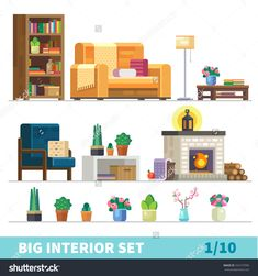 Big detailed Interior set. Cozy living room: nice couch, lamp, coffee table, cactus, fireplace, firewood, flower vases,  bookshelves, armchair. Flat vector stock illustration.