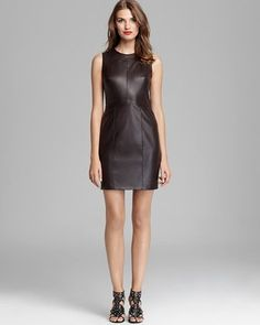 Cynthia Steffe Sleeveless Faux Leather Dress