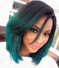 Fashion Ombre Dark Green Straight Short Bob Synthetic Lace Front Wig Natural Black/Turquoise Heat Resistant Hair Women Wigs(China (Mainland))