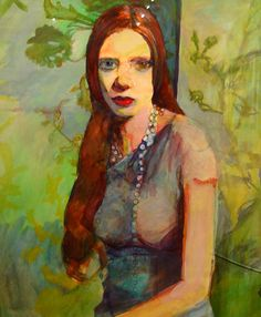 Meirion Ginsburg Girl With Green Background