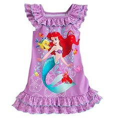 Disney Store Ariel Little Girls' Purple Ruffles Nightgown Size 2 XXS Baby Kids Clothes, Toddler Girl Outfits, Toddler Dress, Outfits For Teens, Cute Outfits, Disney Girls, Baby Disney, Girls Pajamas, Disney Pajamas