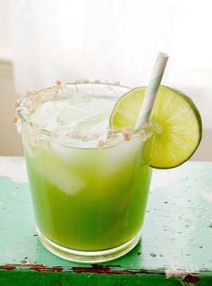 CUCUMBER MARGARITA:   1 shot (1.5 to 2 oz.) tequila 1 shot (1.5 to 2 oz.) triple sec juice from one lime Juice from 1-2 cucumbers (Elsie used her juicer) Honey and pink sea salt for garnish