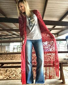 Check out featuring our red lace duster! gypsy duster Get yours here Www. get more Check out featuring our red lace duster! gypsy duster Get yours here Www. Country Style Outfits, Country Fashion, Indie Fashion, Fashion Outfits, Gypsy Fashion, Cowgirl Fashion, Country Dresses, Gothic Fashion, Fashion Tips