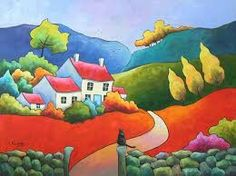 A Favourite Perch Puzzle created by Clarkmega Image copyright: Gillian Mowbray Guache, Arte Popular, Naive Art, Whimsical Art, Fabric Painting, Landscape Art, Painting Inspiration, Kitsch, Art Images