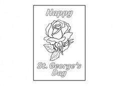 Print out and colour in this St. George's Day rose card.
