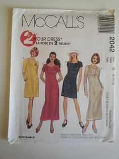 Casual dress summer short raglan sleeve teacher dress pockets sewing pattern, Bust 31 32 34, Size 8 10 12, McCalls 2042, CarolJoyFashions