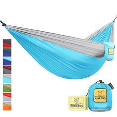 Wise Owl Outfitters Hammock Camping Double & Single with Tree Straps - USA Based Hammocks Brand Gear, Indoor Outdoor Backpacking Survival & Travel, Portable Winter Camping, Camping Gear, Camping Hacks, Outdoor Camping, Outdoor Gear, Indoor Outdoor, Backpacking Gear, Outdoor Grilling, Survival Backpack