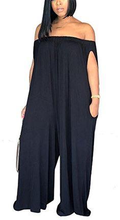9154a0cf94eb LKOUS Women s Summer Casual Off Shoulder Loose Wide Leg Long Pants Jumpsuits  One Piece Romper Overalls
