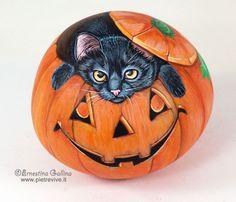 Pumpkin with cat
