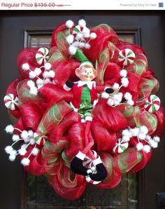 Mesh Christmas Wreaths   Christmas Mesh Wreath, Christmas Wreaths, Candy Christmas Elf Wreath ...