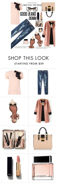 """""""lady denim"""" by nataskaz ❤ liked on Polyvore featuring RED Valentino, WithChic, Bobbi Brown Cosmetics, Miu Miu, Chanel, Givenchy, women's clothing, women, female and woman"""