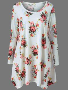 $9.25 for Long Sleeve Floral T-Shirt Dress in White | Sammydress.com