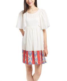Look at this #zulilyfind! White & Red Pattern-Hem Shift Dress - Women #zulilyfinds