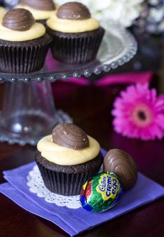 Cadbury Creme Egg cupcakes...icing made with the centers of Cadbury creme eggs......Cadbury cream eggs are my absolute favorite!