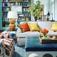 Goodbye neutrals hello color, 4 Key Features of Every Fabulous Home Office Space. Design by Katie Ridder Interior Inspiration, Room Inspiration, Colour Inspiration, Living Room Decor, Living Spaces, Living Rooms, Home Office Space, Blue Rooms, Room Colors