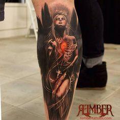 Dark Angel by Rember, Dark Age Tattoo Studio: Tattoo Inspiration - Worlds Best Tattoos Badass Tattoos, Great Tattoos, Trendy Tattoos, Leg Tattoos, Body Art Tattoos, Tribal Tattoos, Sleeve Tattoos, Calf Tattoo Men, Calf Tattoos For Guys
