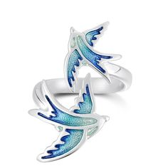 A beautiful ring decorated with two swallows, from Orkney designer Sheila Fleet http://www.ringsrus.co.uk/sheila-fleet-silver-enamel-ring-erx198/