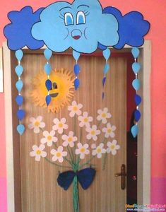 Cloudy Classroom Door Ornament CLASS ORNAMENTS - It is the center of sharing all kinds of activities about preschool education in which all aspects - Kids Crafts, Preschool Activities, Diy And Crafts, Arts And Crafts, Paper Crafts, Preschool Education, Decoration Creche, Class Decoration, School Decorations