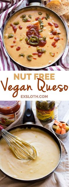 Queso Dip - Diary of an ExSloth : This nut-free vegan queso dip is made with potatoes instead of cashews but is just as creamy and flavourful Healthy Vegan Snacks, Vegan Foods, Vegan Dishes, Vegan Meals, Vegan Lunches, Dairy Free Queso, Dairy Free Recipes, Vegan Recipes, Dip Recipes