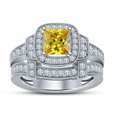New Princess & Rd Cut Yellow Sapphire 925 Silver Women's Bridal Wedding Ring Set #Unbranded #BridalRingSet