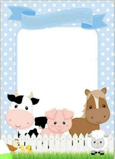 Convite Farm Animal Party, Farm Animal Birthday, Farm Birthday, Farm Party Invitations, Baby Activity, Farm Theme, Baby Party, First Birthdays, Crafts For Kids