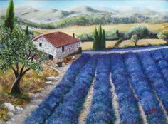 Lavender's Blue by Kit Domino - The rustic charm of a lavender farm deep in the Italian heartland where the air is warm and sweet with perfume Artwork Display, Lavender Blue, Rustic Charm, Acrylic Art, Fields, Farms, Kit, Homesteads