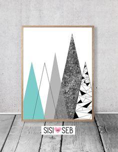 Imprimir montañas geométrica  diseño nórdico arte abstracto