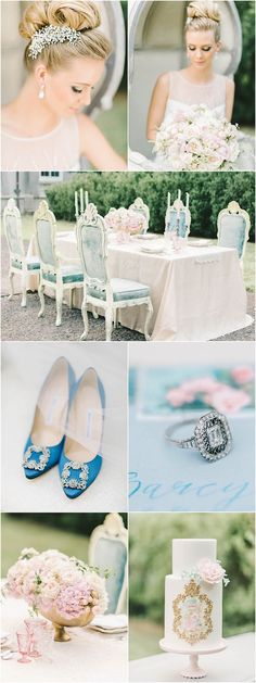 Romantic pink, blue and gold wedding reception theme; Photography: Elizabeth Fogarty