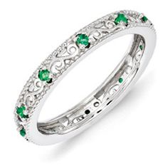 Sterling Silver Emerald Birthstone Filigree Eternity Stack Ring Available Exclusively at Gemologica.com