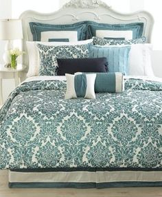 Teal And Cream Bedding Sheffield Slate Bedding Collection From Waterford Hand Printed Dupioni