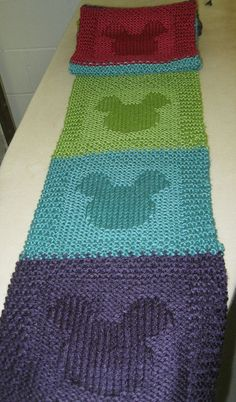 Mickey Mouse scarf stockinette image on garter squares, great gift, great use of stash multicolours