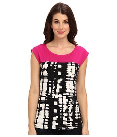 Calvin Klein Calvin Klein  Lotus Top Tee w Print Black Multi Womens Clothing for 40.99 at Im in!