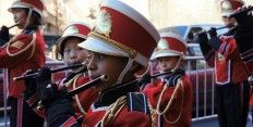 I like the New York Chinese School Crimson Kings Drum, Fife, & Bugle Corps. I was a member of it as a kid, in the early 1970s. I played 2nd baritone, with a marching band horn that had one piston and one valve. I marched in competitions in which we won several New York metro area regional championships...
