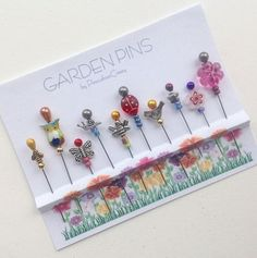 Garden Pins - Embellishment Pins - Decorative Pins - Gift for Quilter - Sewing Accessory - Pincushion Pals - Bee Pins - Flower Pins Sewing Hacks, Sewing Crafts, Leftover Fabric, Stick Pins, Sewing Accessories, Sewing Projects For Beginners, Hat Pins, Love Sewing, Sewing Patterns Free