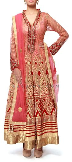 Buy Online from the link below. We ship worldwide (Free Shipping over US$100). http://www.kalkifashion.com/pink-anarkali-suit-featuring-in-gotta-patti-embroidery-only-on-kalki.html