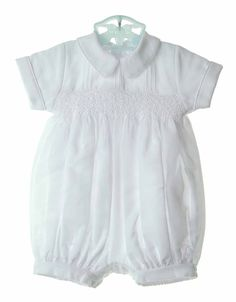NEW Will'beth White Smocked Romper with Pintucks, Satin Piping and Seed Pearls $60.00