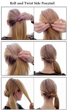 Make a Roll and Twist Side Ponytail   hairstyles tutorial hair option for my bridesmaids hair at leah's wedding @moxiethrift on etsy Ziegler