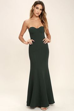 The For Infinity Forest Green Strapless Maxi Dress will help you have the night you've always dreamed of! Medium-weight knit shapes a strapless, princess seamed bodice with lightly padded cups, hidden boning, and no-slip strips. Flaring mermaid maxi skirt. Hidden back zipper and clasp.
