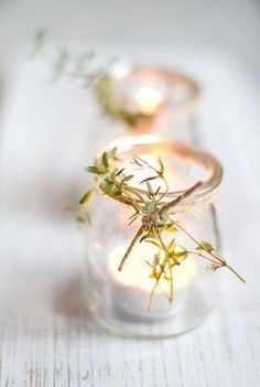 Dress up a simple table this holiday season with thyme-adorned tea lights Holiday Candles, Holiday Centerpieces, Wedding Decorations, Candle Decorations, Decor Wedding, Simple Centerpieces, Holiday Decorations, Deco Champetre, Beltane