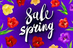 violet Spring Sale colorful tulips by Rommeo79 on @creativemarket