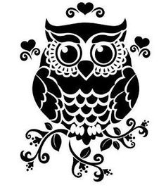 "Owl 190 micron Mylar Stencil durable and sturdy- 6 x 6 "" - 8 x 8 "" - 12 x Free UK p&p Owl Silhouette, Silhouette Portrait, Silhouette Cameo Projects, Silhouette Design, Silhouette Files, Kirigami, Stencils, Owl Stencil, Stencil Patterns"