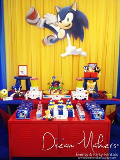 Red, blue and yellow treats at a Sonic birthday party!  See more party planning ideas at CatchMyParty.com!